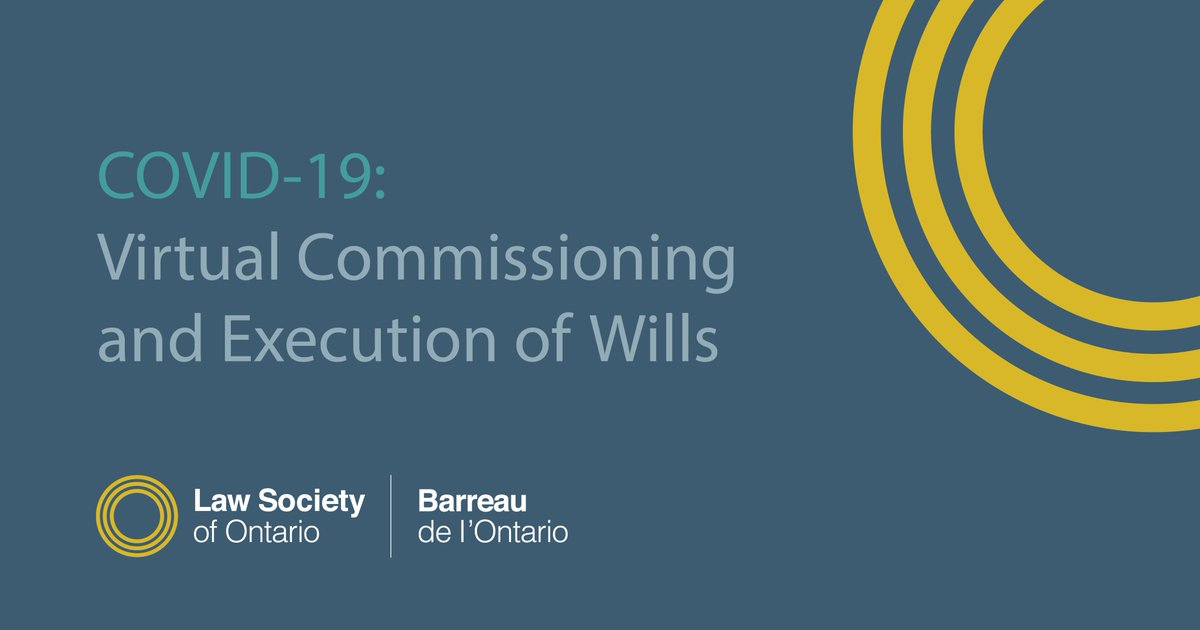 The @ONAttorneyGen has advised that an emergency Order In Council has been made under s. 7.1 of the Emergency Management and Civil Protection Act with respect to the virtual commissioning and execution of wills.pic.twitter.com/tV4RA1ynEw