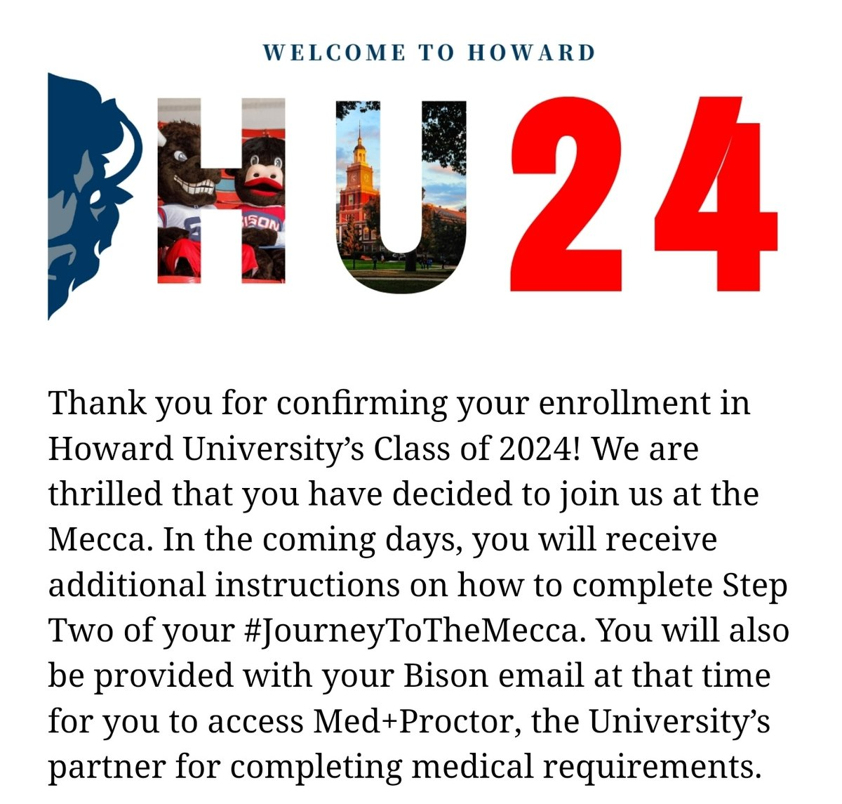 Enrolled and officially a baby bison🥺 Howard University in the fall! ❤💙#HU24