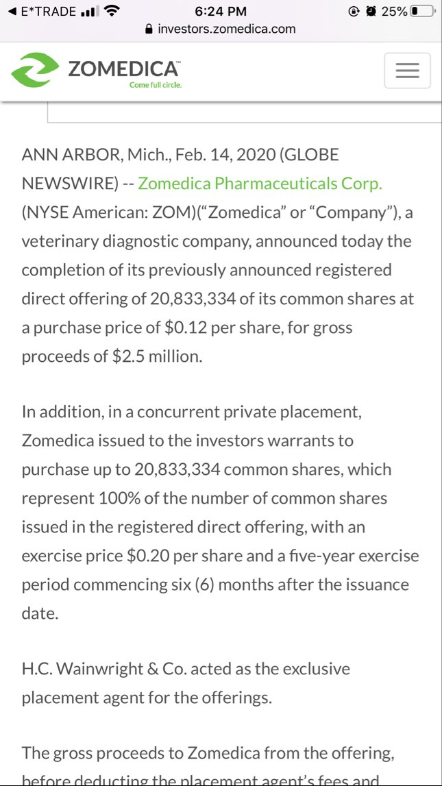 $ZOM feb14, 2020 had a offering of $0.12, and now they have another offering . Rip! pic.twitter.com/FpcShQYtq9