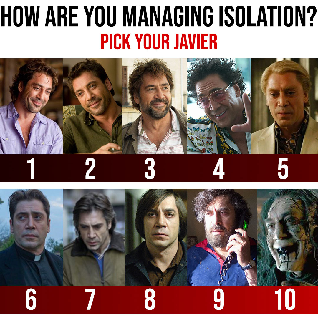 Maintaining social distance is essential but isolation can lead to a range of emotions as versatile as Javier Bardem's performances and hairstyles. Let us know where you're at! #stayhome #stayhomestaysafe #stayhomesaveslives #javierbardem #moviecollector #movielovers pic.twitter.com/DnWwSlLdxK