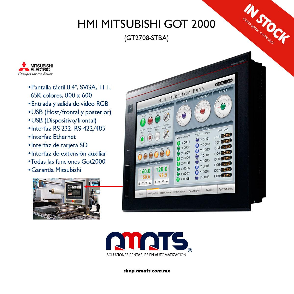 Tenemos 4 pantallas de la serie GOT2000 disponibles, modelo GT2708-STBA de Mitsubishi, las mejores HMI´s del mercado #amatselectric #amatsshop #mitsubishielectric #humanmachineinterface #automatización #GOT2000 #touchscreen #hmi #pantallamitsubishi