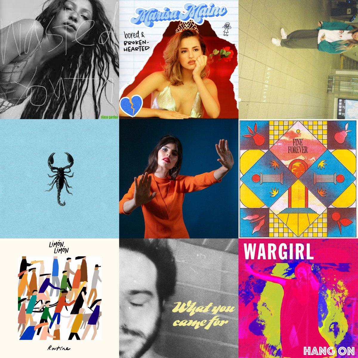 #NewMusic   Diana Gordon - wasted youth Marisa Maino - bored & brokenhearted Tiffany Day - autopilot Bed Scene - scorpion Hazel English - five and dime Varsity - runaway Limón Limón - routine Bad Actor - what you came for Wargirl - hang on pic.twitter.com/TY6dcROowQ