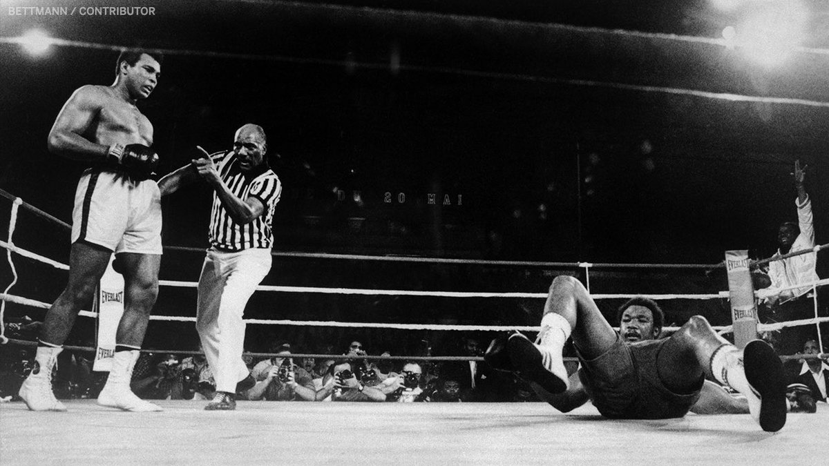 """Ali and Foreman square off in """"The Rumble in the Jungle"""" right now on ESPN2🥊 (h/t @ESPNRingside)"""