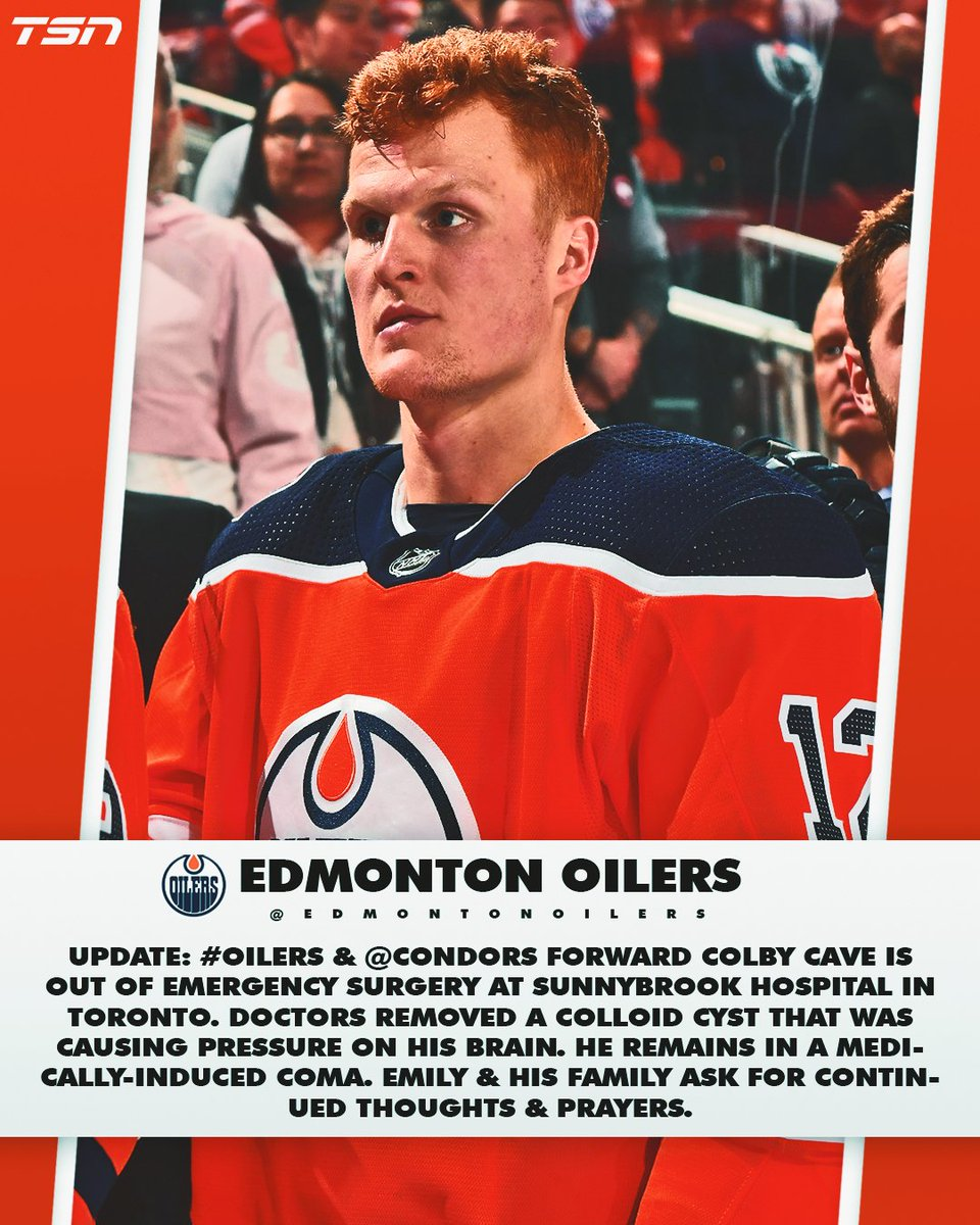 Colby Cave is out of emergency surgery following a brain bleed, per the Oilers. https://t.co/59WKopMNTD