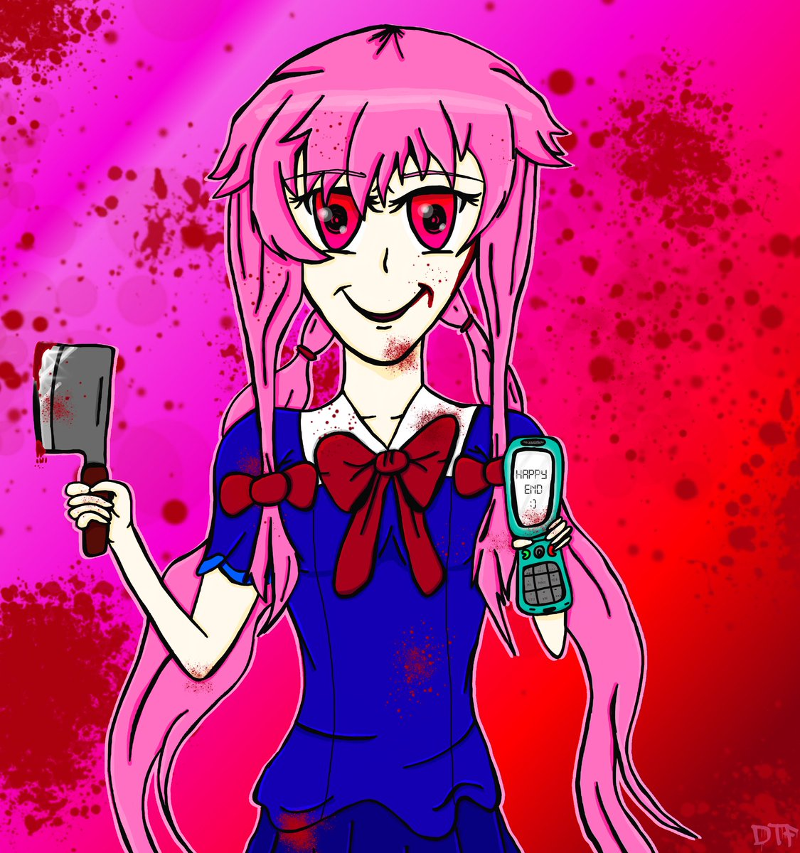 Birthday art for @etehwierdokid. Yuno Gasai from his favorite anime, Future Diary. Very fire show, i highly recommend.  #fanart #anime #krita #gaomon #digitalart #yunogasai #futurediary #manga #pink #blood #happyend #cellphone #knife #character #render