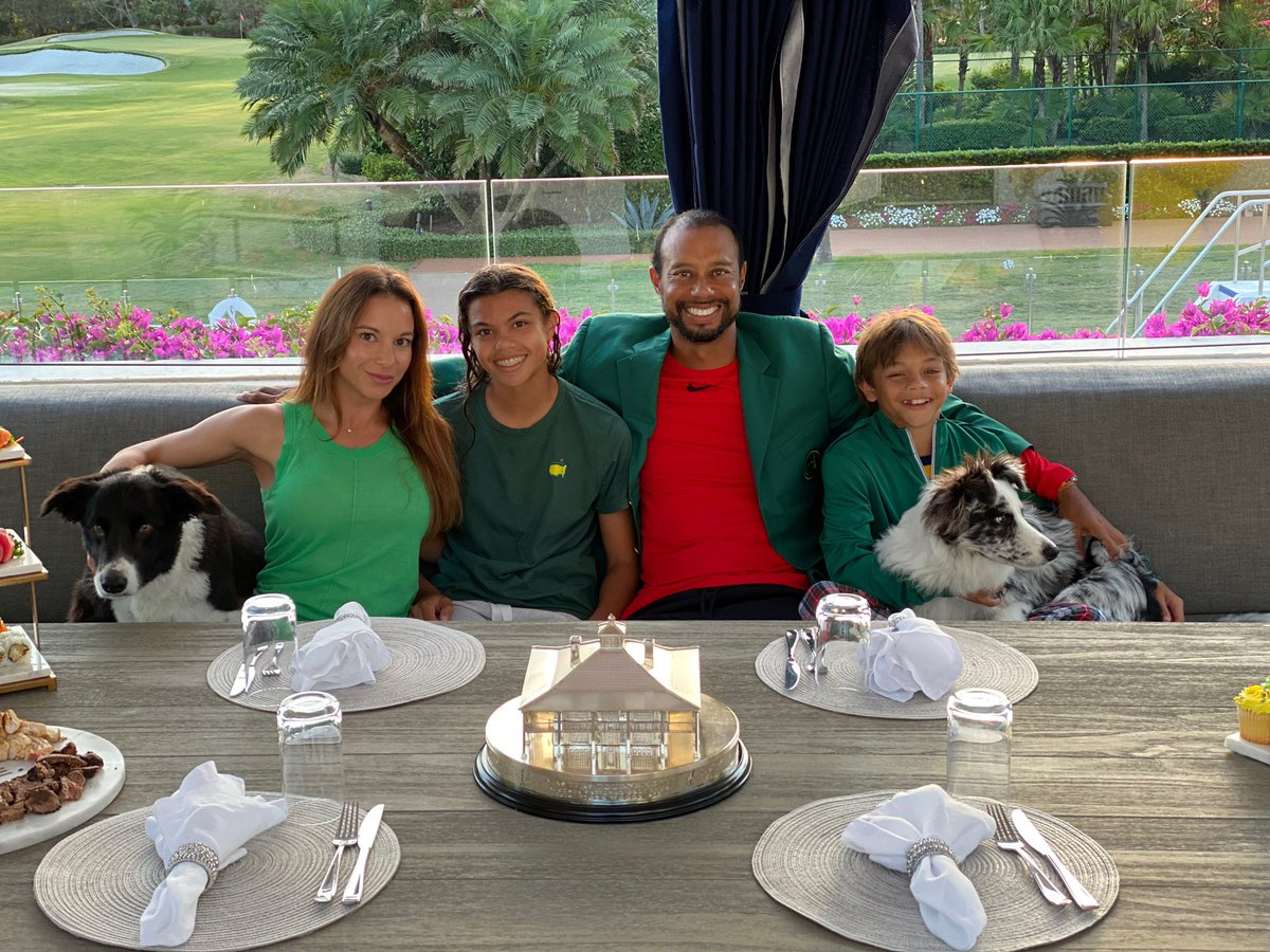Masters Champions Dinner quarantine style. Nothing better than being with family.