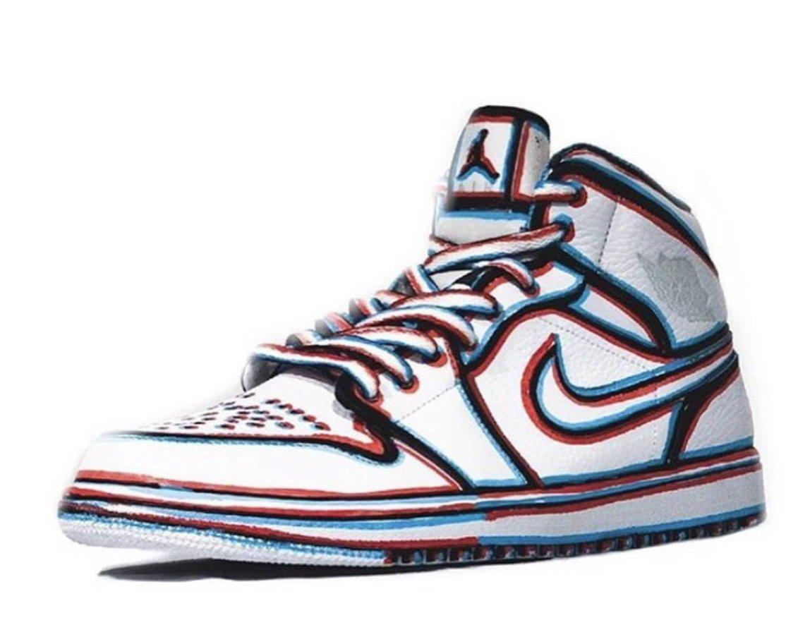 3D effect custom Jordan 1s
