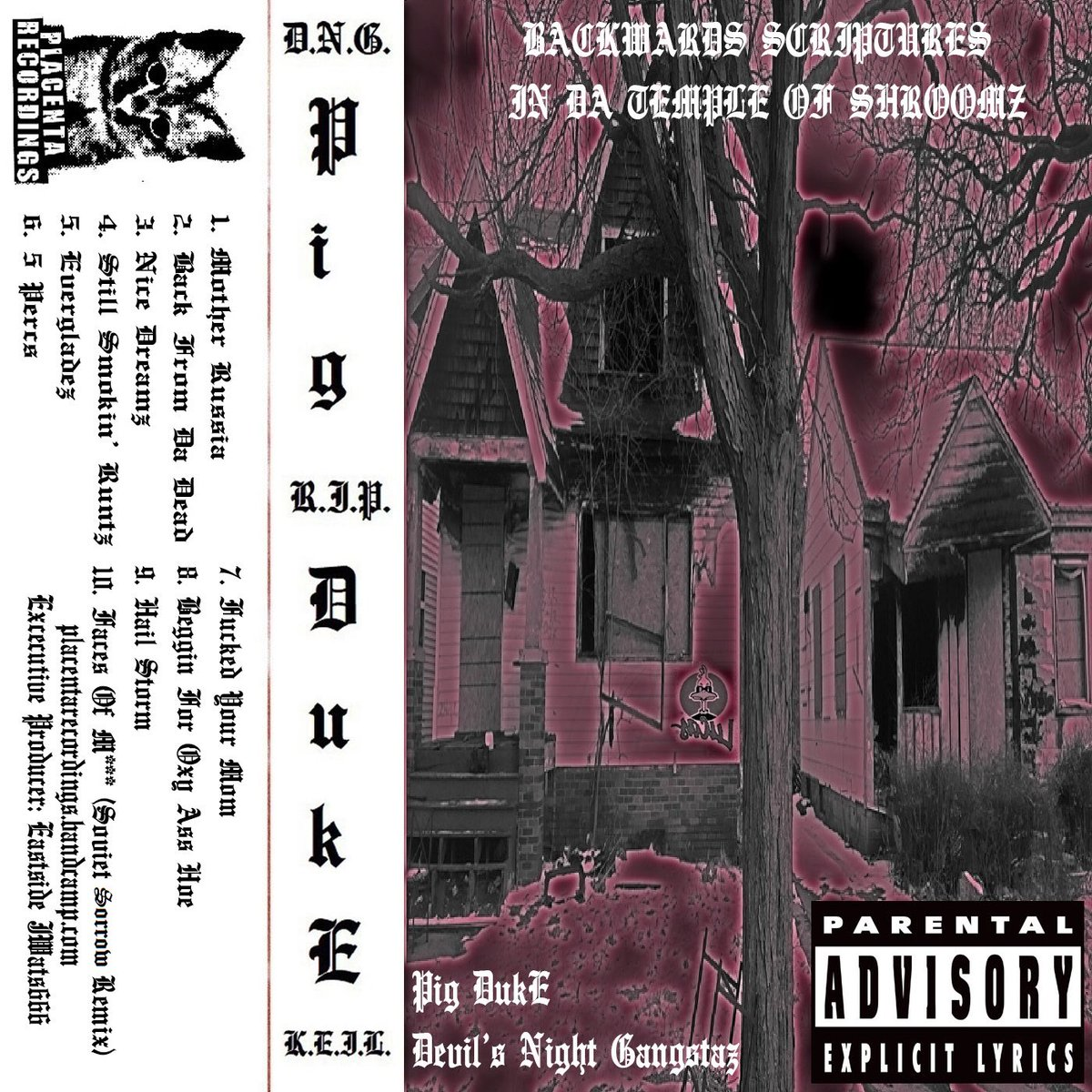 "Pig DukE ""Backwards Scriptures In Da Temple Of Shroomz"" out now on CD/digital via Placenta Recordings. Tapes after quarantine! Listen/download/order a copy today at  😼🍄🏚 #PigDukE #DNG #PlacentaRecordings #DetroitRap #Horrorcore #Comedy #Vaporwave #Noise"