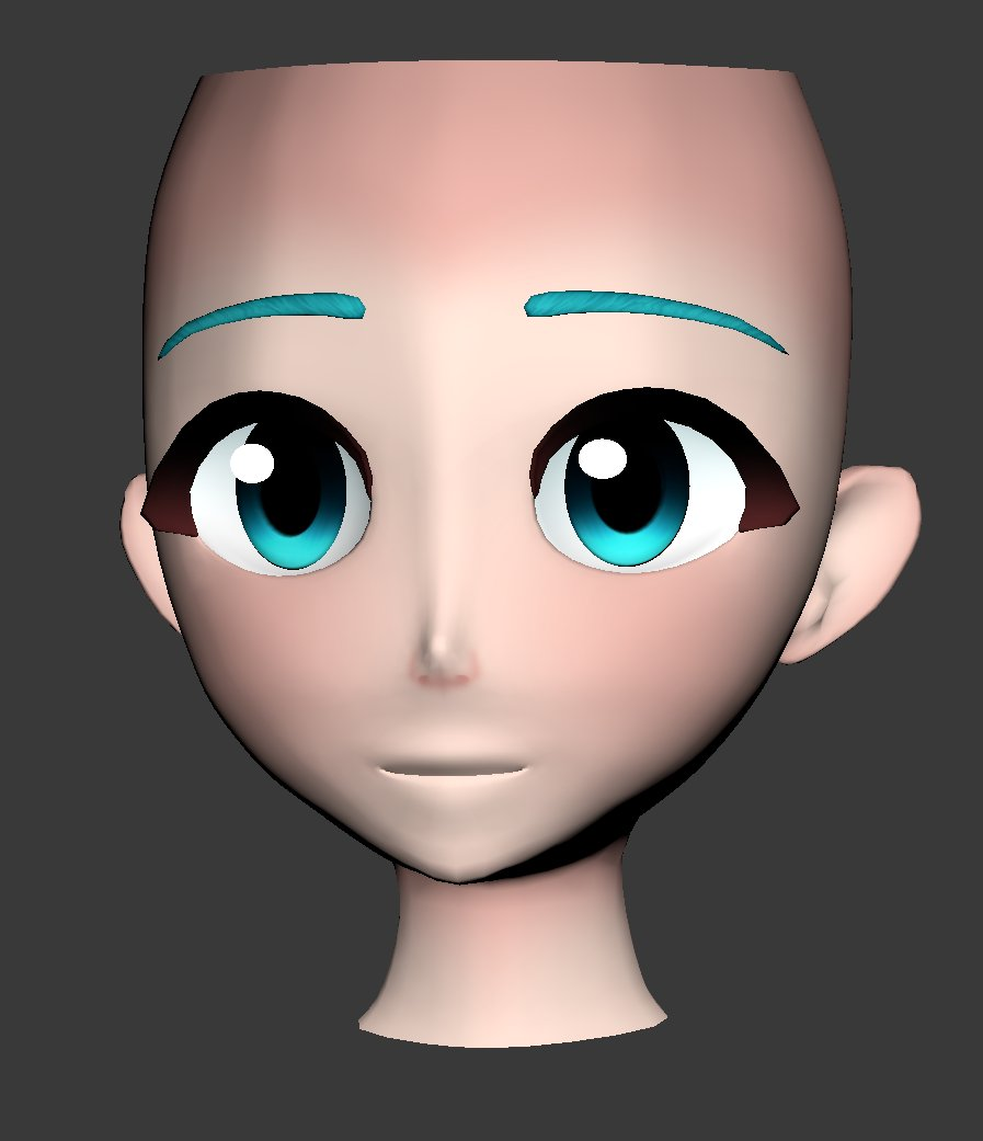 Finally happy with a face I have made >v< #mmd #wip #3dmodelling #animeface #3danime