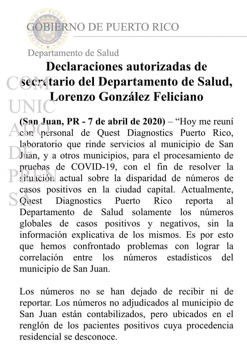 """BREAKING: """"Los números no adjudicados (de pruebas #COVID19) al municipio de San Juan están contabilizados, pero ubicados en el renglón de pacientes positivos cuya procedencia residencial se desconoce"""".-Secretario de @DeptSaludPR informa que, desde mañana, recibirán info completa."""