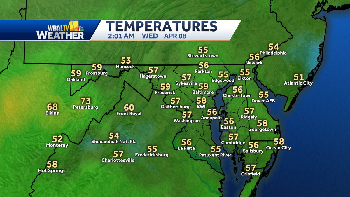 Here's a look at the current temperatures across #Maryland. pic.twitter.com/h65FebJzdh