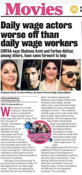 Daily wage actors Hit equally worse than daily wage workers due to #Covid_19 in troubled times truly appreciate the support by dearest @AzmiShabana & my very dear friend  @FarOutAkhtar @Thearjunbijlani & @apshaha Proud of both always 🙏