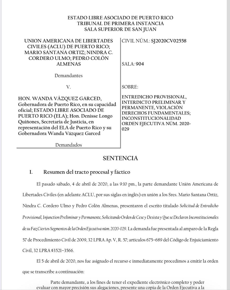Desestimada en su totalidad demanda de la ACLU contra la orden ejecutiva de distanciamiento social y toque de queda emitida por la gobernadora @wandavazquezg .  Según el juez crecen de legitimación activa (standing).