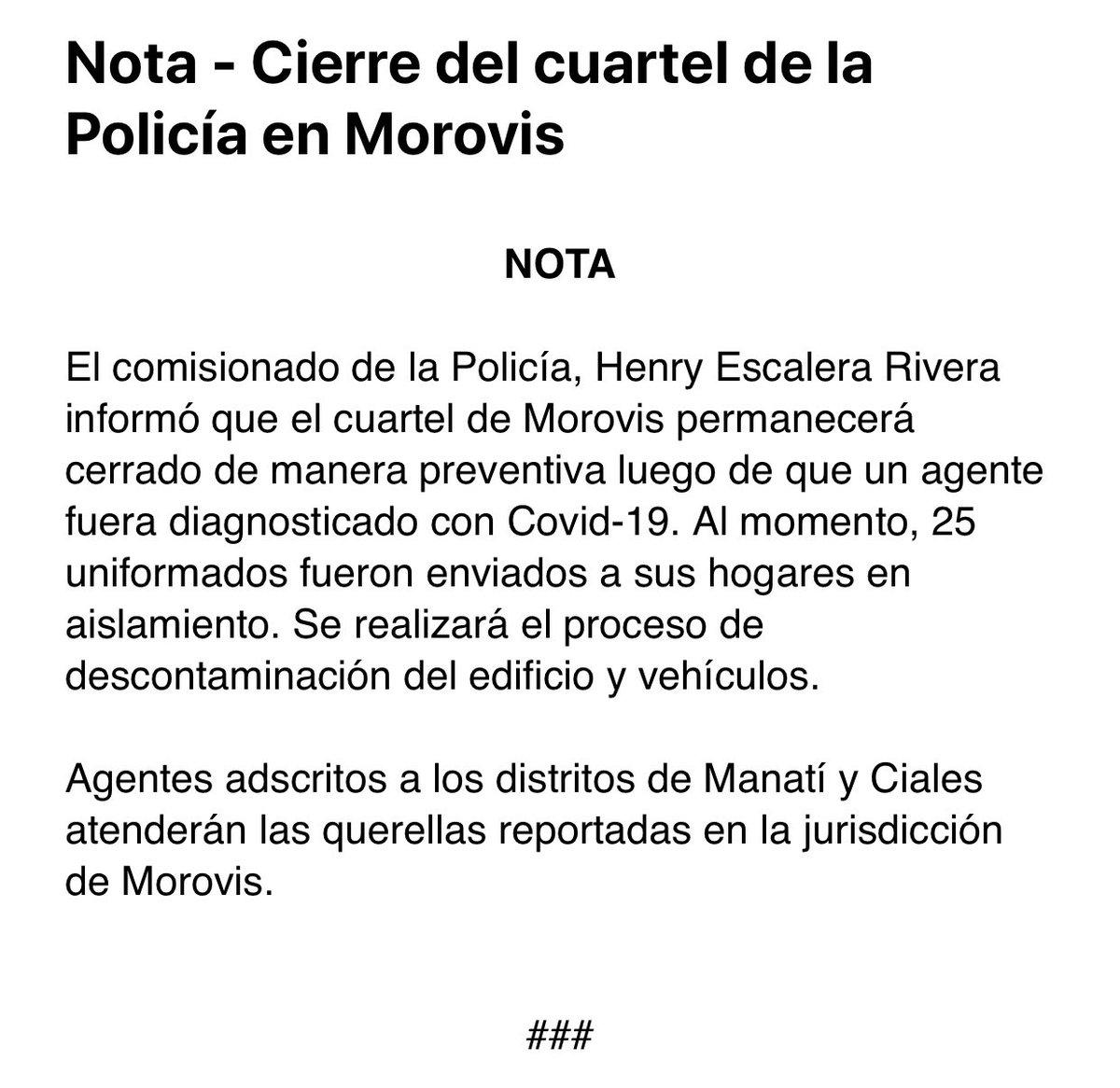 BREAKING: El comisionado de la Policía, Henry Escalera, informa que el cuartel de Morovis permanecerá cerrado de manera preventiva, luego de que un agente fuera diagnosticado con #coronavirus #COVID19. 25 uniformados fueron enviados a sus hogares en aislamiento. #PuertoRico