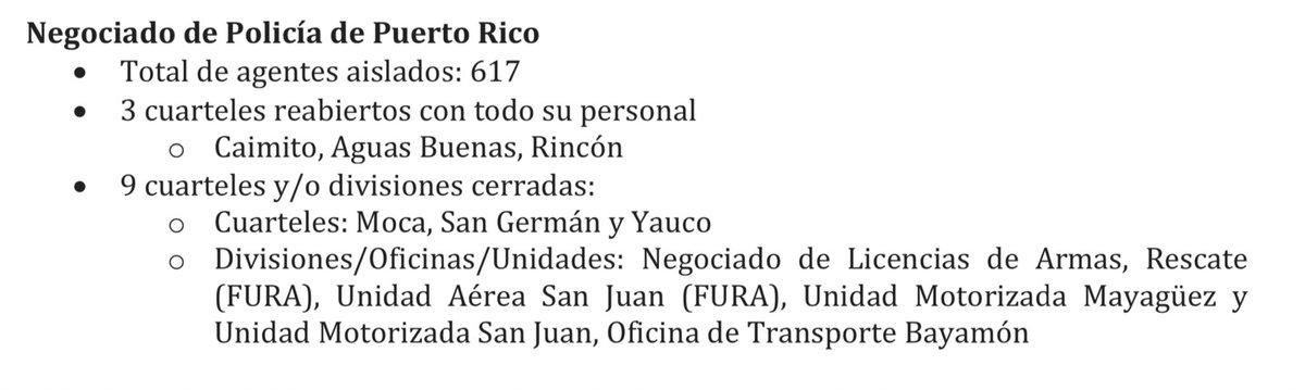 Al día de hoy, hay 642 policías, 9 paramédicos y 14 bomberos en aislamiento preventivo en #PuertoRico por #COVID19. •25 agentes de Morovis + 617 que ya están aislados. •La cifra irá variando, según se reincorporen los que lleven 14 días en cuarentena y los resultados negativos.