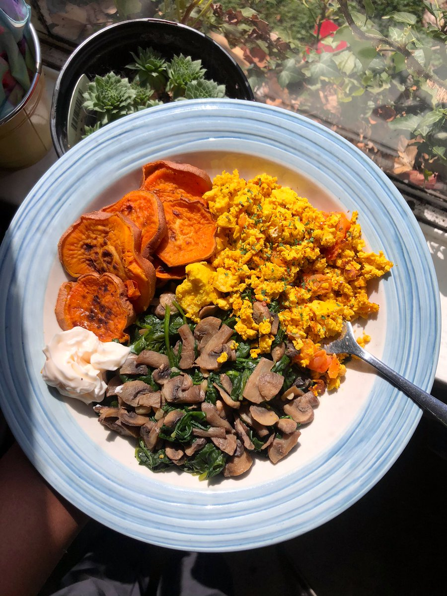 breakfast of champions  tofu scramble, veggies, sweet potato, and don't forget that slaughterhouse workers often develop PTSD and other mental illnesses as a result of the violent and inhumane working conditions they're subjected to. Please #govegan if you can pic.twitter.com/t9y96Txmj6
