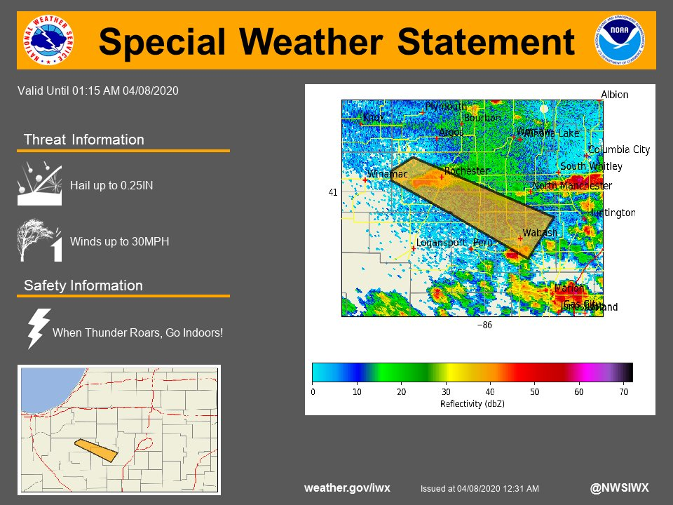 SPECIAL WEATHER STATEMENT...A STRONG THUNDERSTORM ...for more see