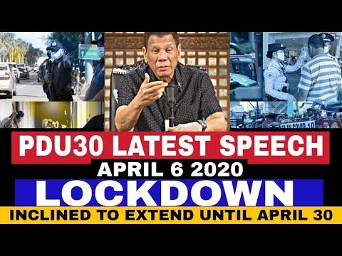 PANGULONG DUTERTE LATEST SPEECH APRIL 6 2020 INCLINED TO EXTEND THE LOCKDOWN UNTIL APRIL 30 ALAMIN -  (2020)