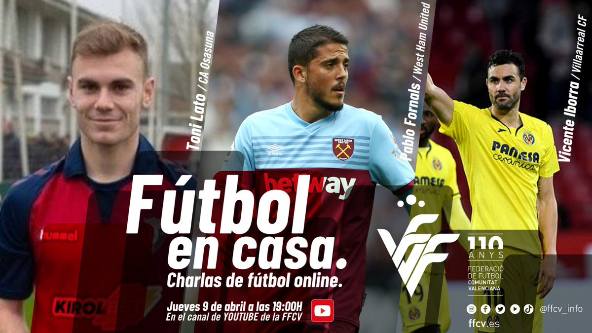   FÚTBOL EN CASA   🤩 Charla online con @ToniLato3 @pablofornals e @Iborra_Vicente 🗓️ mañana jueves 9 de abril 🕔 19:00 🔴 En directo en YouTube y Facebook de FFCV 📎 ffcv.es/wp/blog/2020/0… #FutbolenCasa #YoMeQuedoEnCasa