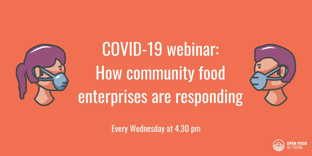 Dont miss our weekly webinar today at 16.30 to discuss: - advice on how to run a food enterprise safely during the COVID19 outbreak - experiences of running or setting up an online food enterprise, to ask questions and offer & receive support Join here 👉 zoom.us/s/226764941