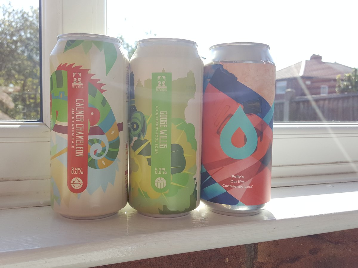 New!  From @brewyorkbeer  Calmer Chameleon: Session APA with CTZ, Idaho 7, Mosaic & Simcoe 3.9%. UT3.62  Goose Willis: Gooseberry fool sour 5.3%. UT3.79  From @pollysbrewco  Confidently Lost: Oat IPA with simcoe, citra & chinook 5.8%.  UT 3.88  #workingfromhome #craftbeer pic.twitter.com/fu0Jk7Hvc7