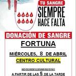 Image for the Tweet beginning: 👉Esta tarde #Donaciondesangre en #Fortuna