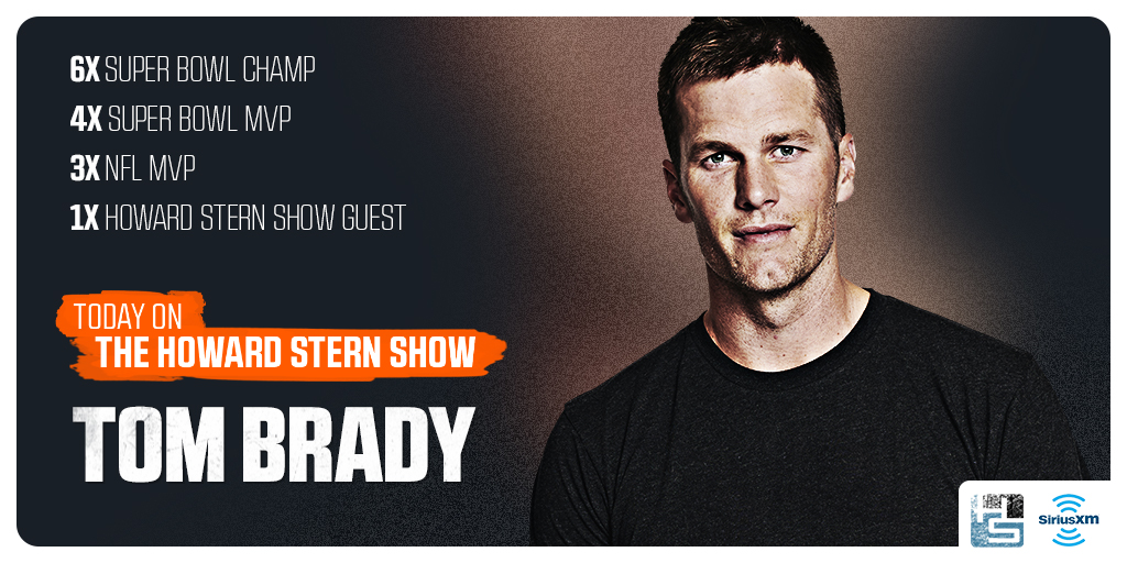 TODAY: @TomBrady in his first interview with @HowardStern!  Listen live on #Howard100 for FREE on the @SIRIUSXM app: https://t.co/uYGxSKgsKz https://t.co/cudTlKb7N2