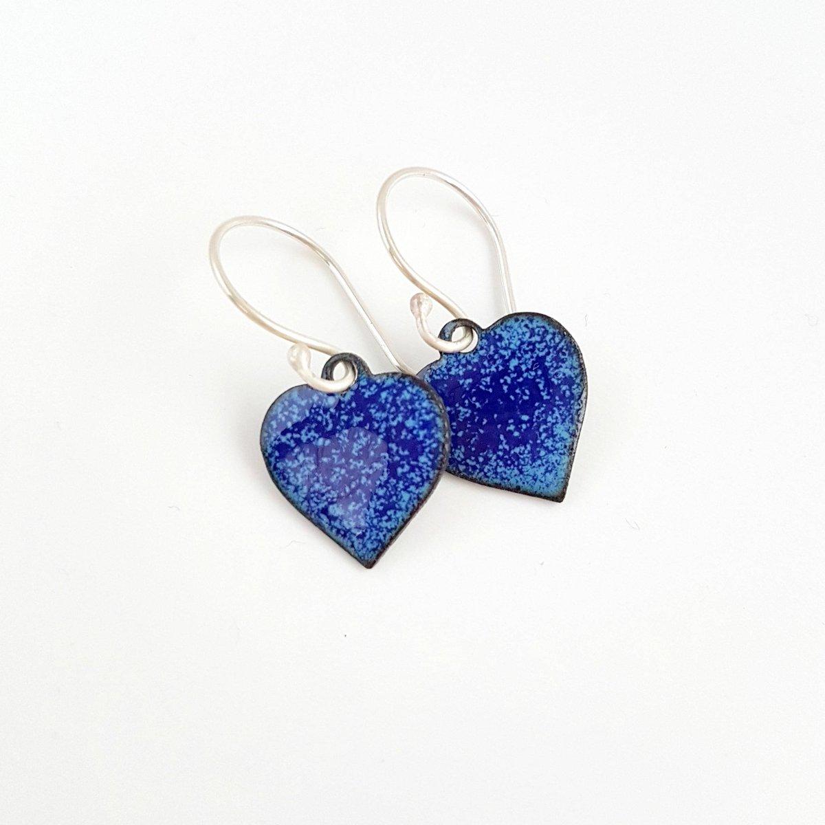 Blue Enamel Heart Earrings  #etsyselleruk #Eshopuk #EtsyUK #87RT #OlineshopRT #LoveEarrings