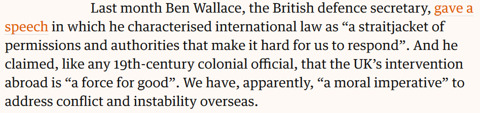 I also highlight the shocking, ignorant and extremely dangerous attitudes of the UK Defence Secretary, @BWallaceMP.