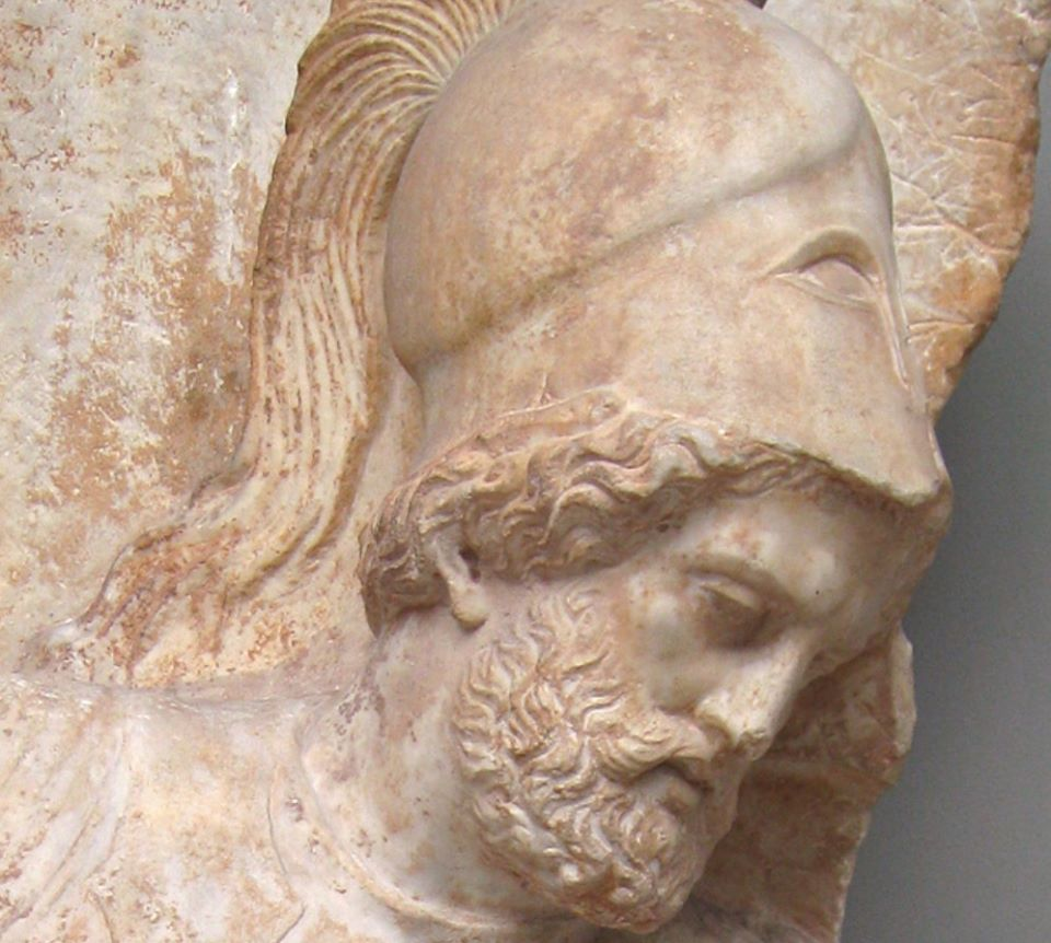 Ancient Greek marble relief 330 BC depicting a soldier in combat (detail).From Athens.