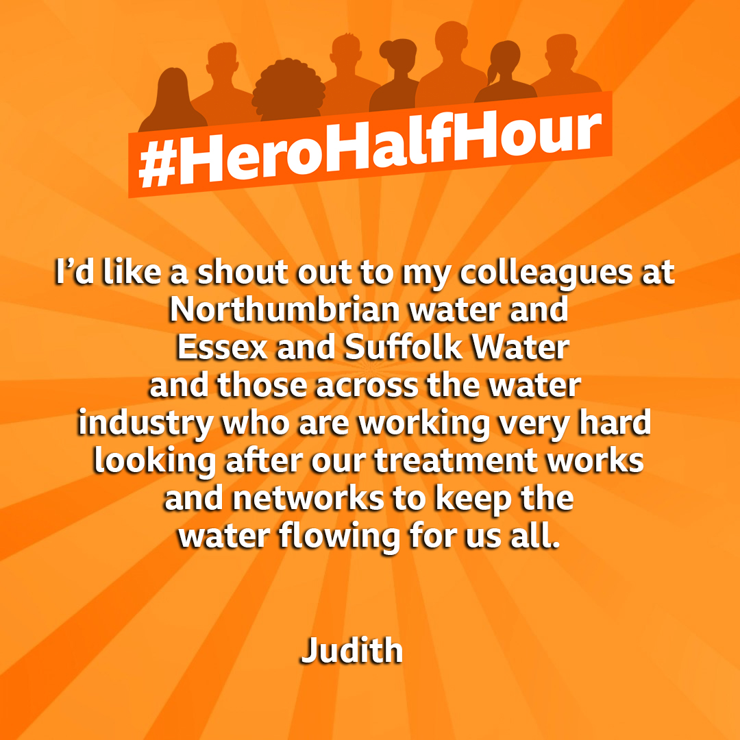 Judith has this lovely message for everyone working to keep our water flowing 🚰 #HeroHalfHour #BBCBreakfast