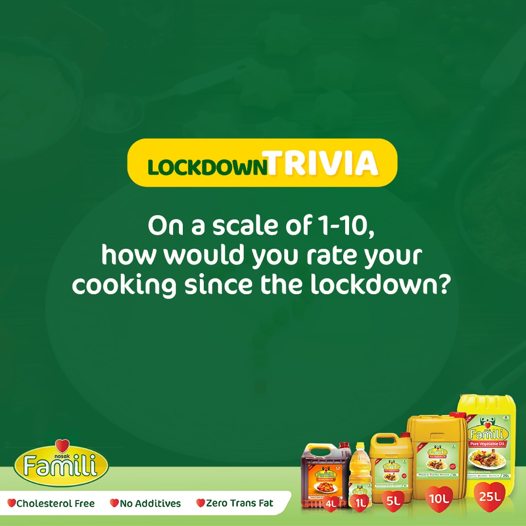 We know that cooking is now a big deal due to the lockdown, so how far 🤔? Is it better or the normal routine? Tell us in the comment section 👇👇👇 #NosakFamilli #lockdownlife #nigerianfoodblogger #foodies #staysafeeveryone #wednesdaytrivia #cooking