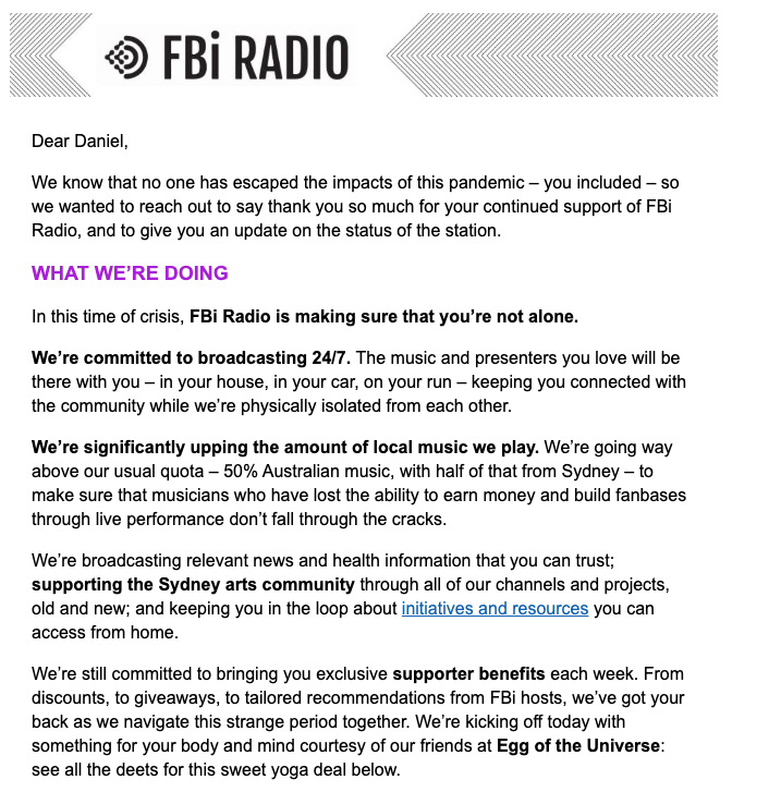 Great email out from @fbiradio  — Sydney if you love Sydney, music, arts and culture — chip in to help FBi Radio at this very weird time: https://fbiradio.com/donatepic.twitter.com/hFd9veyJiy