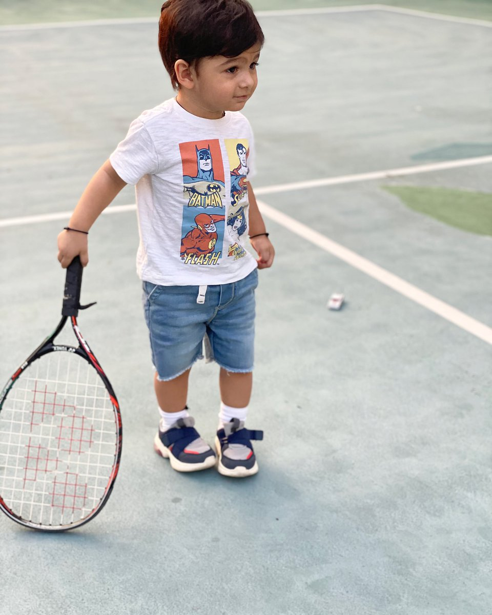 I am pretty sure he's thinking what the fuss is all about ? 😂😏👶🏽🍼 #IzhaanMirzaMalik 🎾