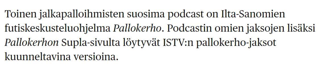 Hesari kerästi hyviä podcasteja koronakuunnteltaviksi. Ei hätää, ei tarvitse lukea koko juttua, mä spoilaan parhaat kohdat. #SoccerTime #NBAfi hs.fi/nyt/art-200000…