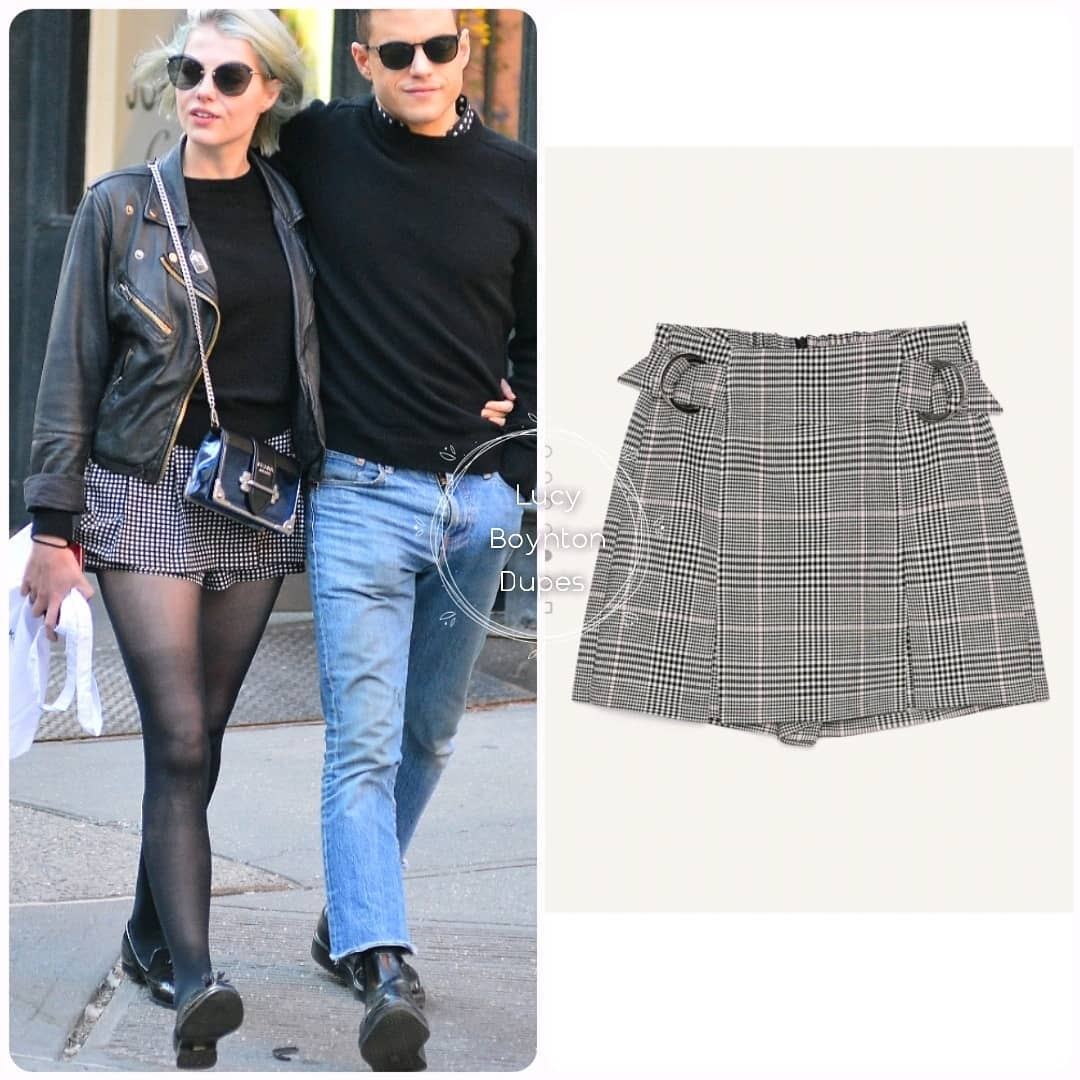 Skort Dupes #1 Skort With D-Ring Details by @bershkacollection #2 Gingham Check Print Skort by @bershka #3 Shorts With Belt by @hm • • Photo Credits: @LucyBoyntonBR / @bershka / @hm #lucyboynton #actress #lucyboyntonstyle #style #lucyboyntondupes #dupes #skirt #shorts #skort