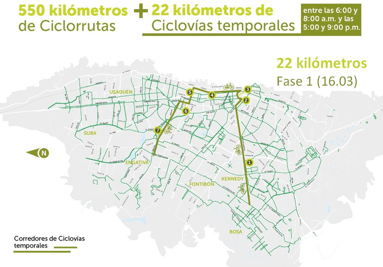 Map shows Phase 1 (of 4) of the new temporary cycle routes.