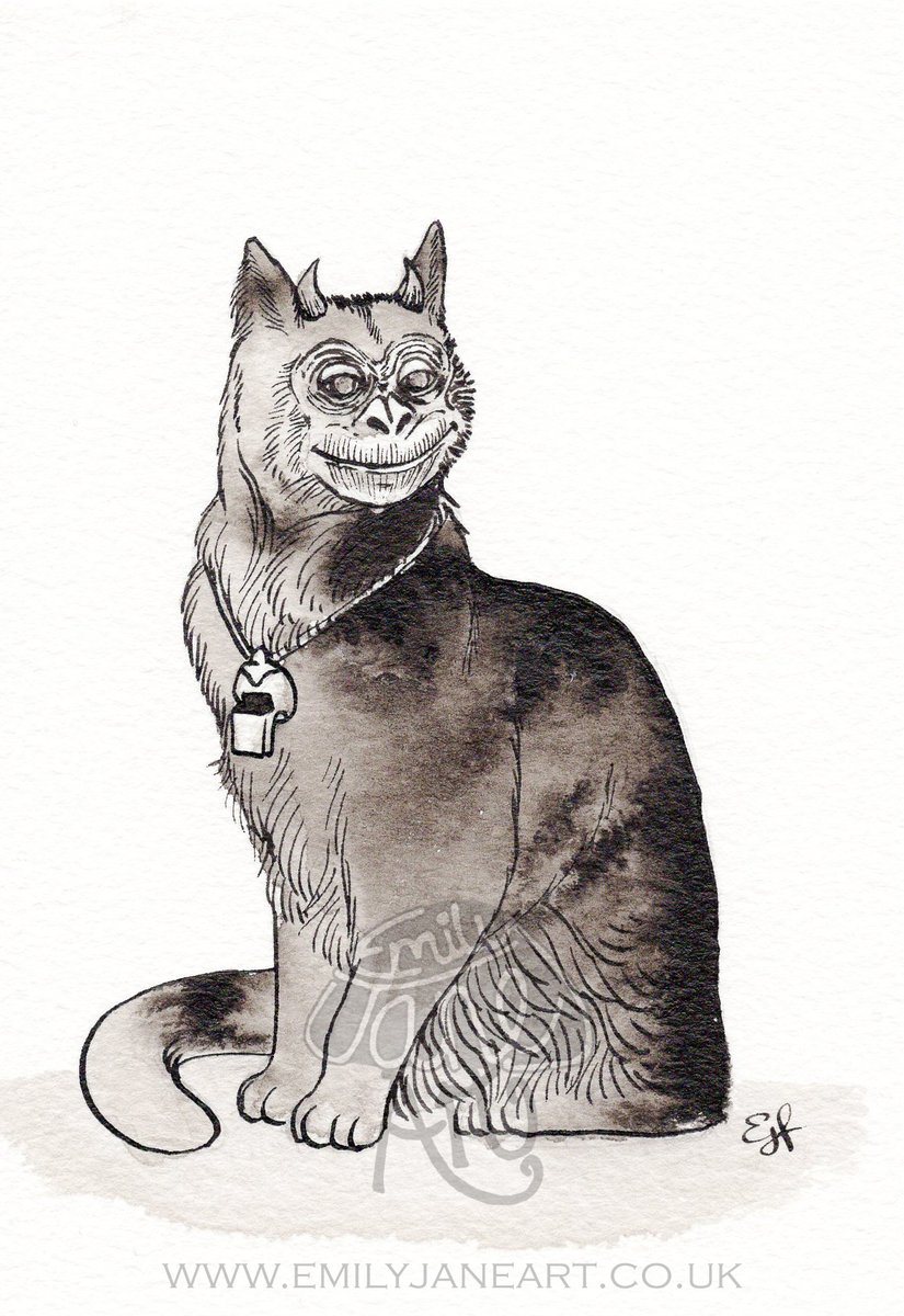 Day 8 of #AprilAbominations: #Familiar  From #inktober2019- I hope that's OK!   Satan the Cat, supposed familiar of Agnes Waterhouse of Hatfield Peverell (accused & hanged for witchcraft in 1566). #Satan the #cat was said to have an ape-face, horns & a silver whistle. pic.twitter.com/PdqwSs8p2T