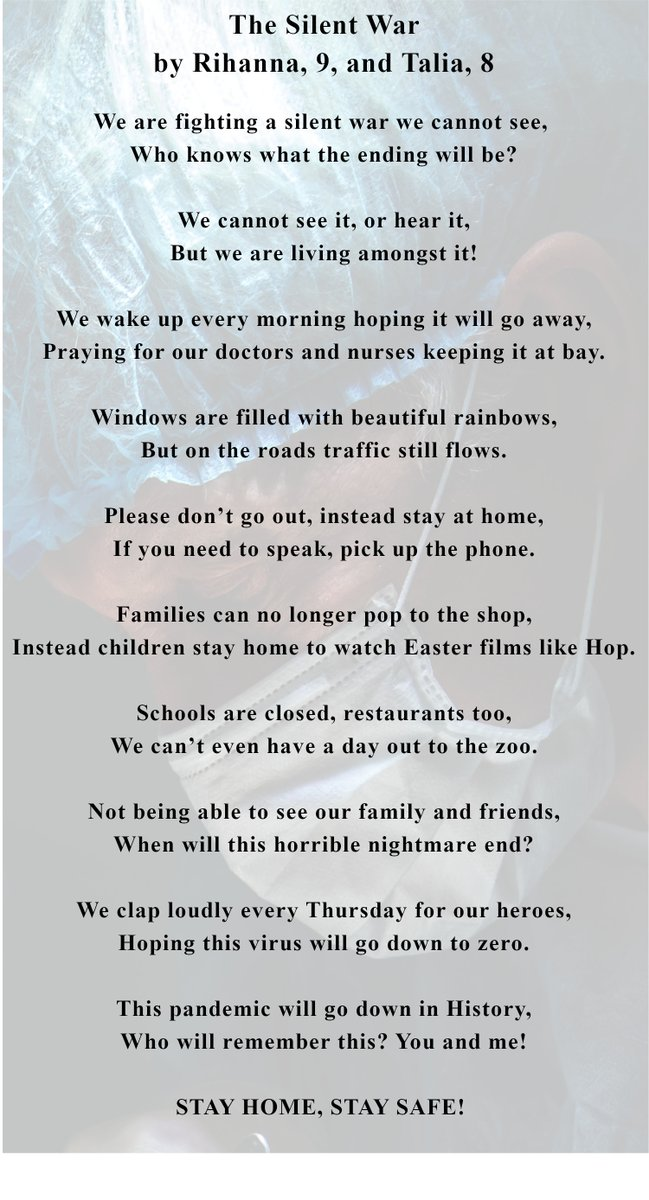 Two of our great nieces, Rihanna and Talia, from #Sheppey, #Kent have written a #poem about the #pandemic #COVID19. @dyfededwards and I were very moved by it. Im sure they would be happy if lots of people saw their work, so please share if you wish. Thank you 🙏#Kent #UKlockdown