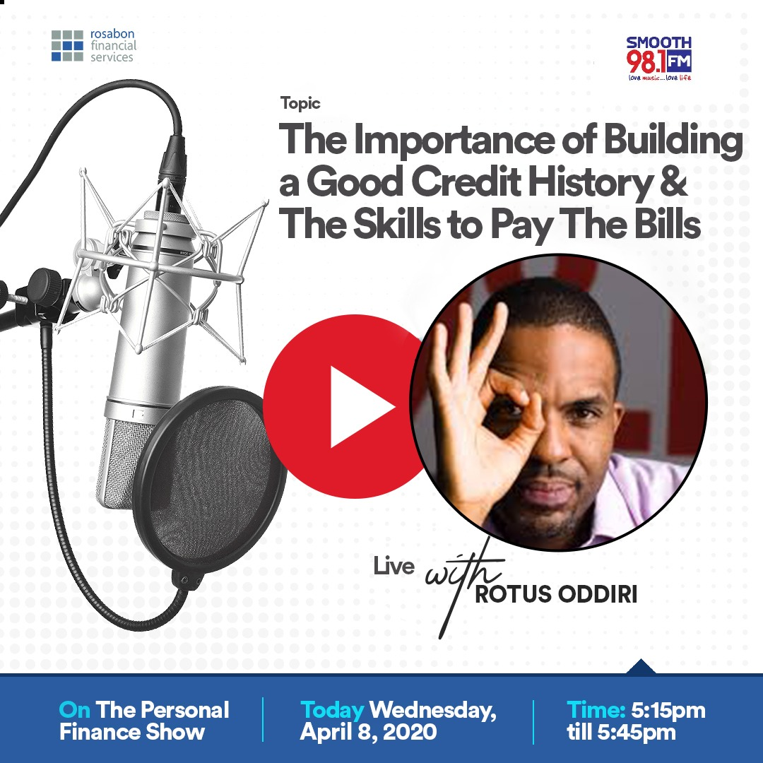 This evening on #PersonalFinance, @rotankwot shares insights on the importance of building a good credit history and the skills to pay the bills  The Personal Finance episode is brought to you by @RosabonNigeria. https://t.co/djET9eHqVj