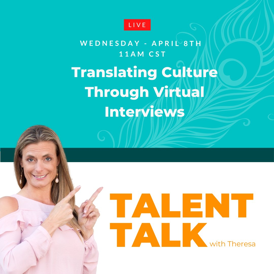 Join me Live at 11 AM CST Today! Doing #virtualinterviews but unsure how to translate the MOST important thing and the most difficult thing to assess - #culture - #DNA...whatever you choose to call it?   https://bit.ly/2XkF388pic.twitter.com/KBpVQ7aEkp