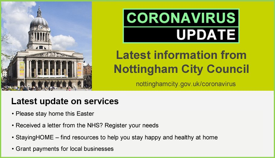 Read the latest #Coronavirus update from City Council Deputy Leader @SallyLongford, outlining ideas for what to do while staying at home this Easter – and how to access support you may need 👇 content.govdelivery.com/accounts/UKNCC…