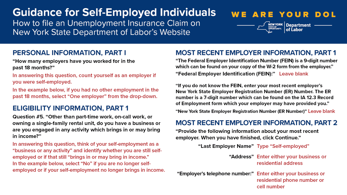 Nys Department Of Labor On Twitter If You Are Self Employed You Can Now Apply For Unemployment Insurance Benefits The Best Way To File Is Online At Https T Co T2tezsp2lf Please See Guidance Below On