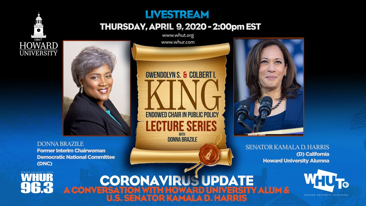 TOMORROW: The 2019-2020 Gwendolyn S. and Colbert I. King Endowed Chair in Public Policy Lecture Series continues with its second virtual installment.  Join veteran news journalist @DonnaBrazile + @HowardUAlumni and U.S. Senator @KamalaHarris for a conversation about #coronavirus.<br>http://pic.twitter.com/EupHcGSXAO