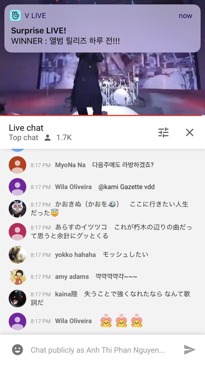 Got W's Vlive notification while streaming MUCC's concert  this is the reason why you need 2 phonespic.twitter.com/BJGuzkVMx3