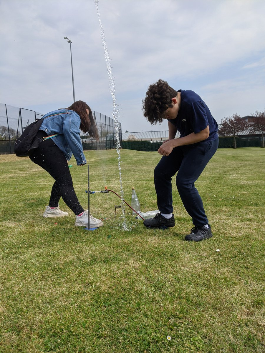 Key worker children making water rockets today in the sunshine