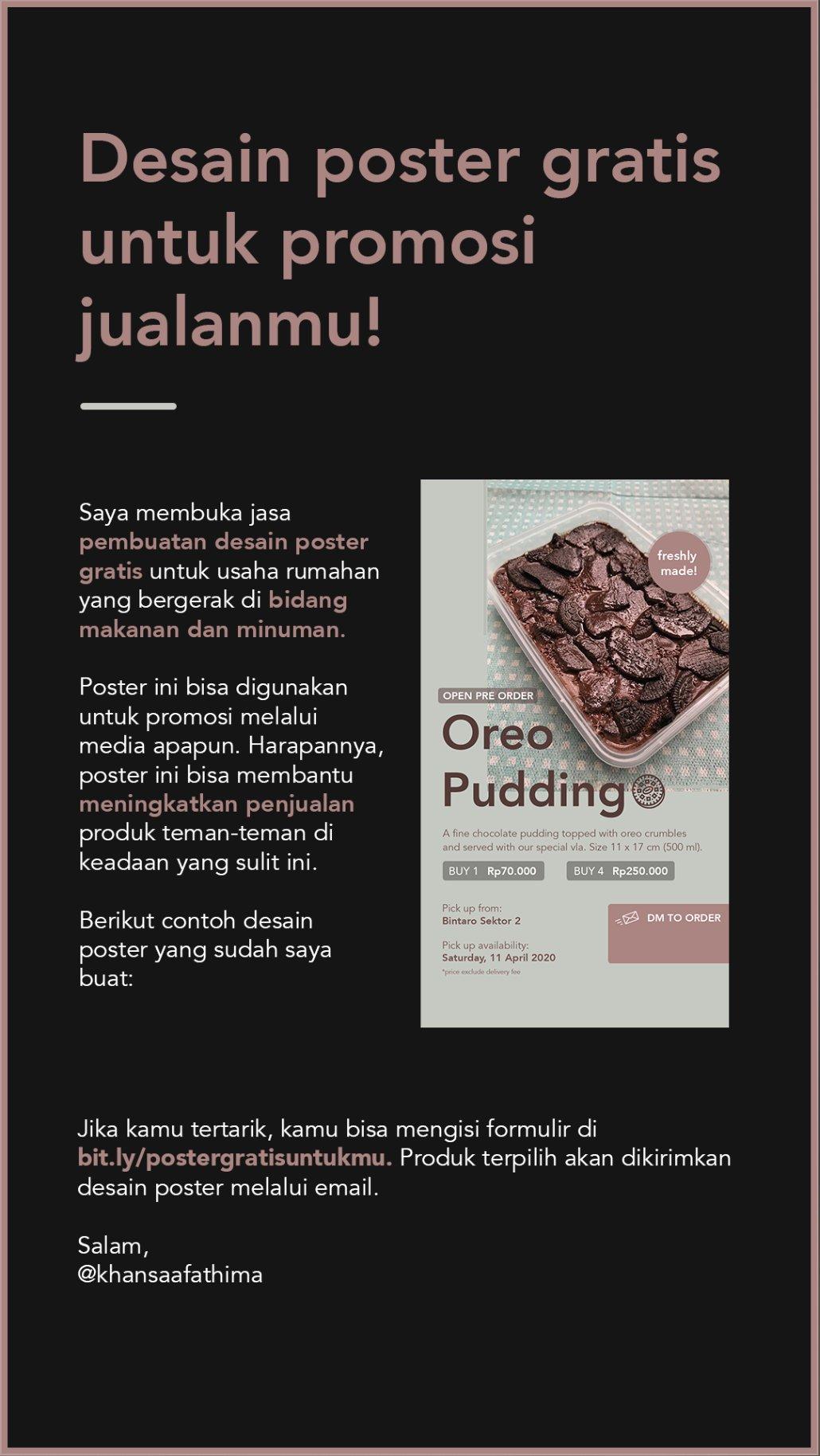 Khansaa على تويتر Desain Poster Gratis Untuk Promosi Jualanmu Saya Membuka Jasa Pembuatan Desain Poster Gratis Untuk Usaha Rumahan Yang Bergerak Di Bidang Makanan Dan Minuman Dirumahaja Isi Formulir Ini Untuk Mendapatkannya