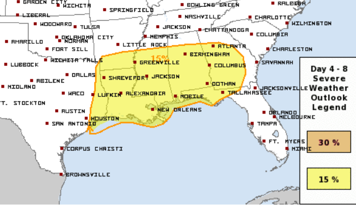 Severe storms appearing likely Sunday across the Southeast. Still questioning the exact track, speed, and intensity of this system. @NWSSPC already highlighting this threat in their extended outlook. #alwx #WBRCFirstAlert #Easter2020 Hopefully know more in a few days.