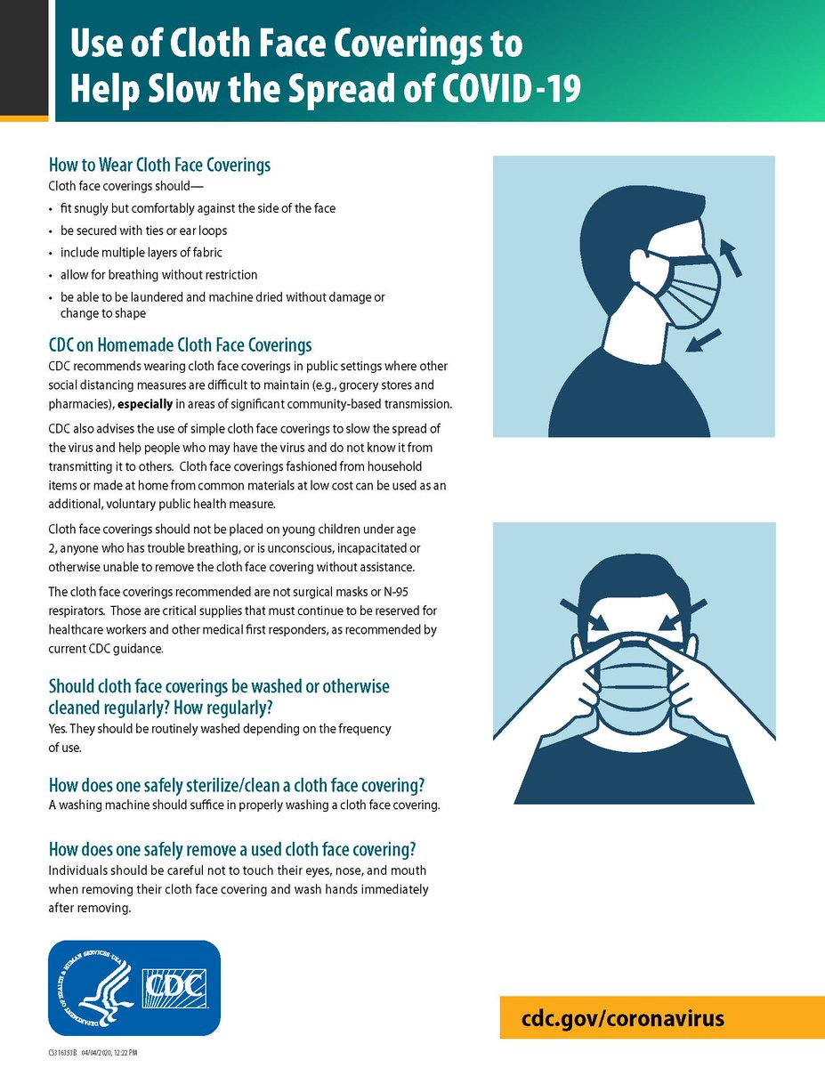 With @DeptofDefense guidance now requiring cloth face coverings here are some tips & how-tos: - fit snugly but comfortably - be secured with ties or ear loops - allow for breathing w/out restriction - laundered & machine dried w/out damage or shape change. Courtesy: @CDCgov