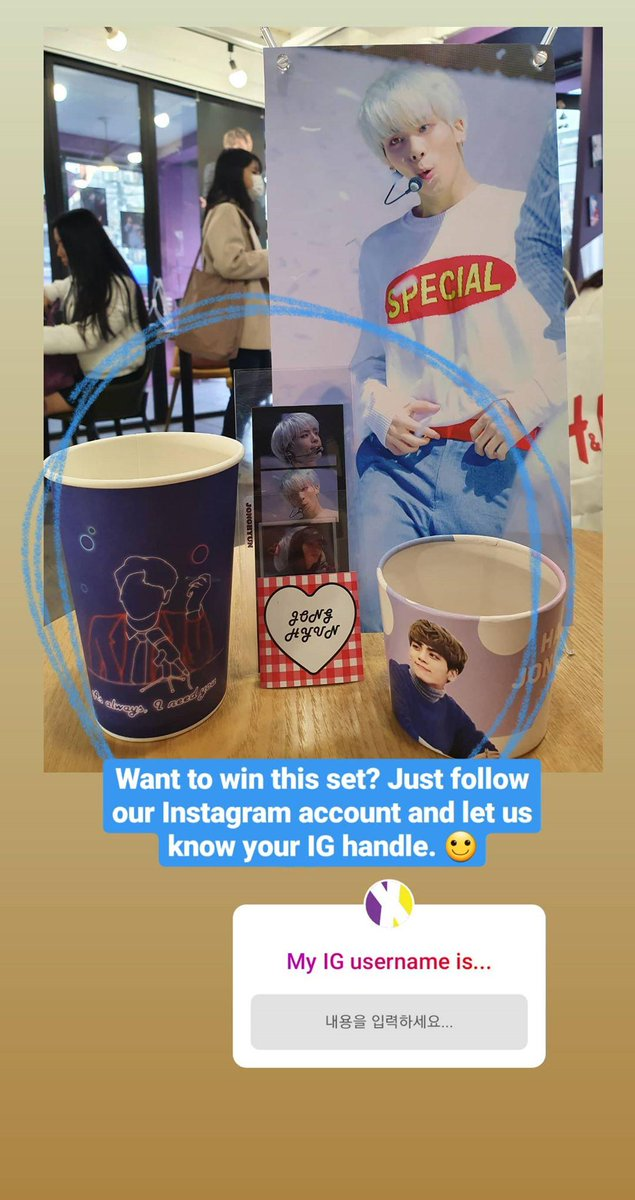 Wishing #SHINees #Jonghyun a happy birthday. 💙 Were giving away this small gift from the café event over at our Instagram! Follow us @sgXCLUSIVE to join. 😊
